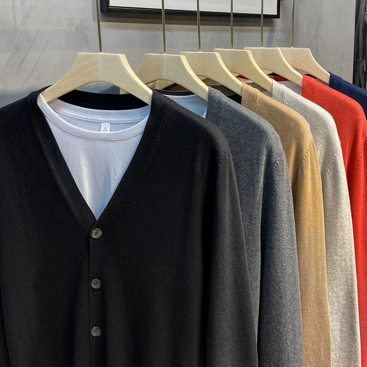 針織開衫毛衣男外套韓版潮流個性商務休閒外穿修身線衣春秋季新款