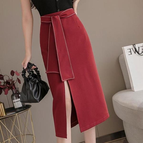 2021夏季新款垂感裙子ins超火半身裙女裝中長款高腰包臂過膝長裙 寶貝計畫