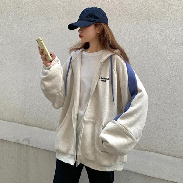 棒球服女 鹽系衛衣女寬鬆韓版春秋2020新款學生連帽棒球服慵懶bf風炸街外套