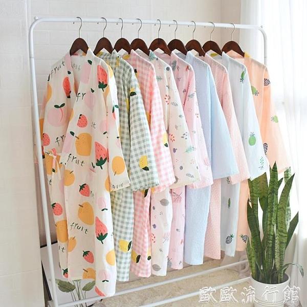和服 睡袍女夏季薄款純棉紗布日式和服睡裙家居長款睡袍浴衣汗蒸溫泉服 歐歐