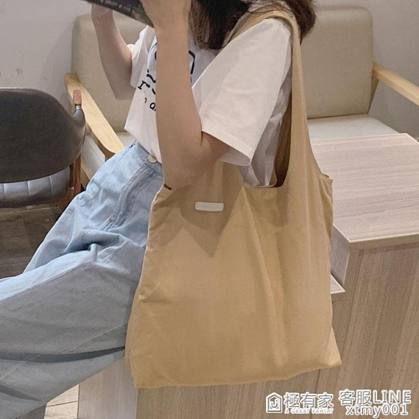 新款ulzzang帆布側背包韓國ins大容量百搭chic休閒學生帆布袋 全館鉅惠