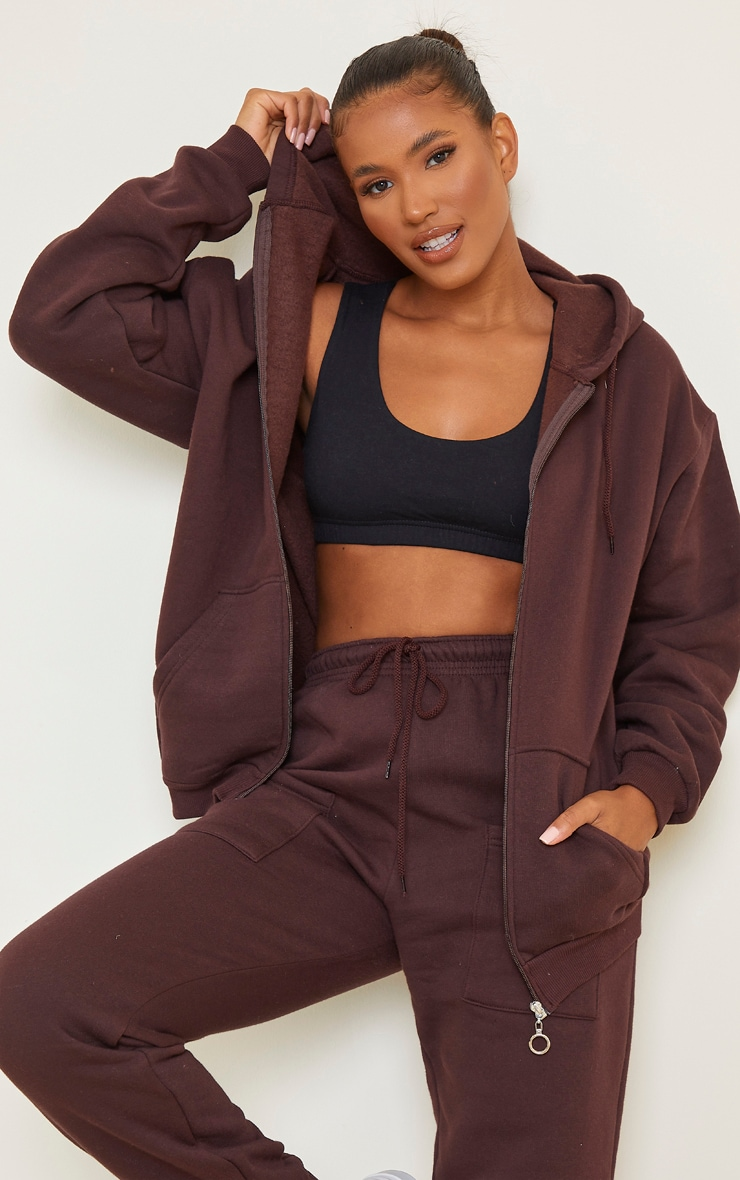Chocolate Brown Extreme Oversized Pocket Front Zip Through Hoodie
