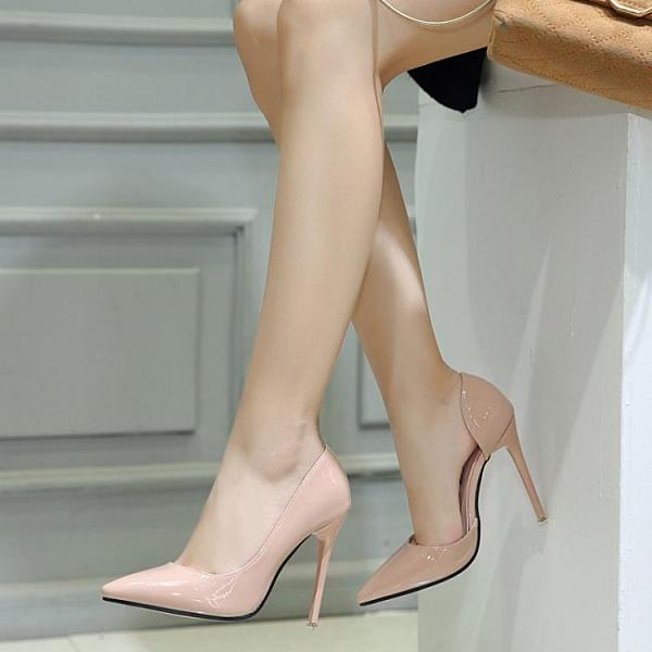 高跟鞋 韓版尖頭側空細高跟大碼單鞋女婚鞋 OL職業女跟鞋 降價兩天