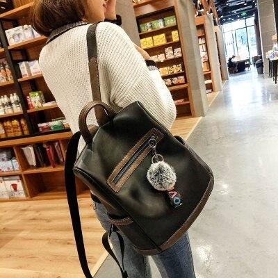 後背包女新款潮韓版簡約個性時尚校園大容量書包軟皮旅行背包