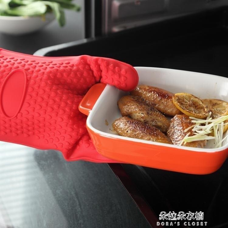隔熱手套 2只防燙硅膠微波爐加棉隔熱手套烤箱耐高溫廚房防熱五指