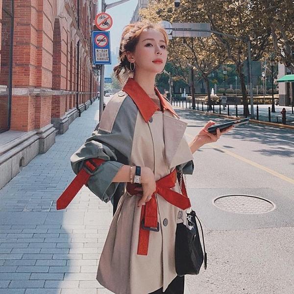 風衣 實拍短款風衣女小個子英倫風2020年秋季新款拼接撞色寬松大衣外套 裝飾界