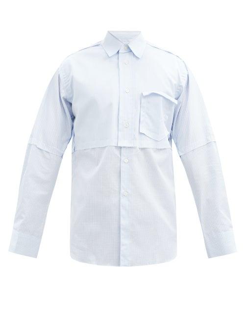 Comme Des Garçons Shirt - Panelled Cotton-poplin Shirt - Mens - Light Blue