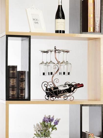 家用紅酒杯架創意紅酒架擺件高腳葡萄酒裝飾倒掛酒瓶架子歐式酒架