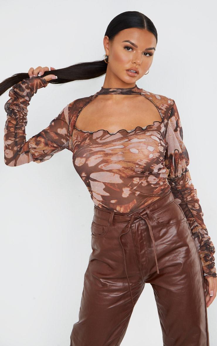 Brown Mesh Butterfly Renaissance Print Cut Out Front Bodysuit