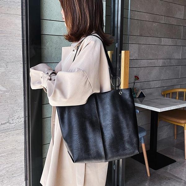 單肩大包包女 2020新款潮韓版百搭大容量 軟面斜挎包時尚托特包