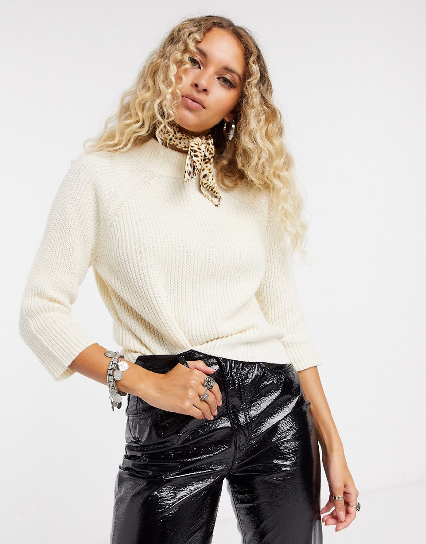 Only 3/4 sleeve high neck jumper in cream-White