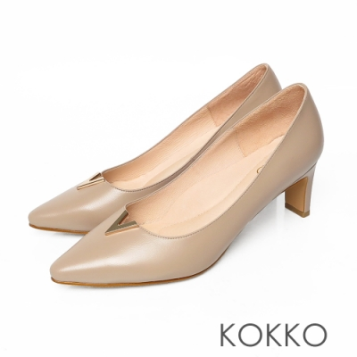 KOKKO微方頭V字金屬柔軟羊皮扁跟鞋復古灰
