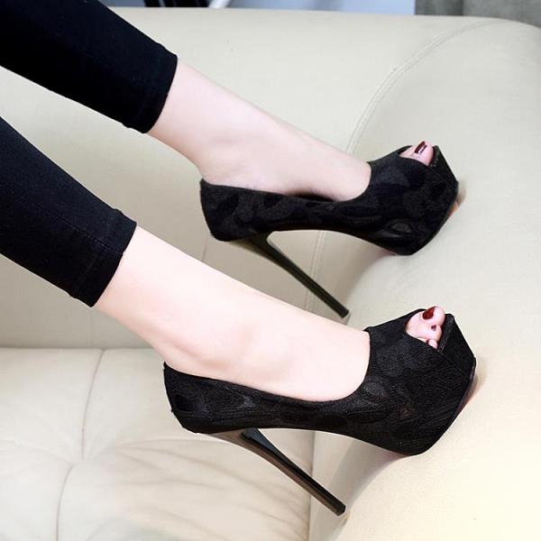 魚口鞋 超高跟鞋細跟12cm夜店水台性感百搭黑色職業裸色少女14cm魚嘴單鞋  卡洛琳