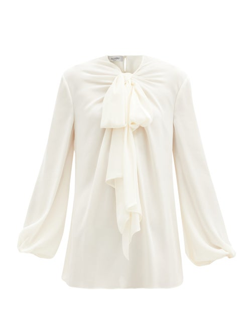 Valentino - Pussy-bow Silk-georgette Blouse - Womens - Ivory