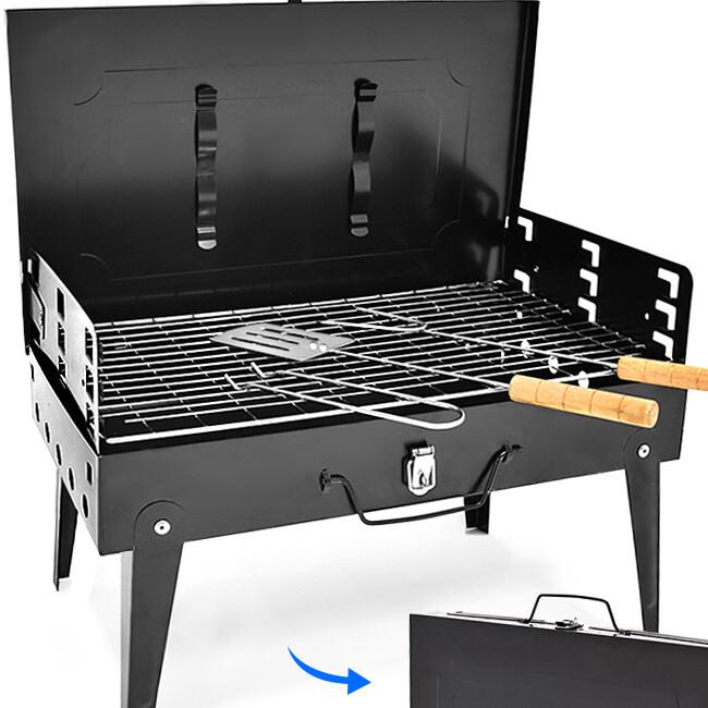 便攜手提箱式燒烤爐+配件組合  手提烤肉架子c213-ca07