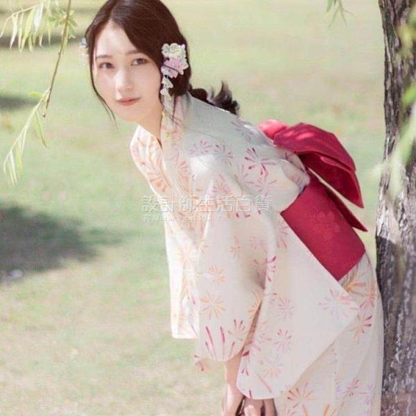 非質量問題不接受退換 日本和服 和風改良洋裝 鵝黃煙花和服浴衣 夏日祭 煙火大會 設計師