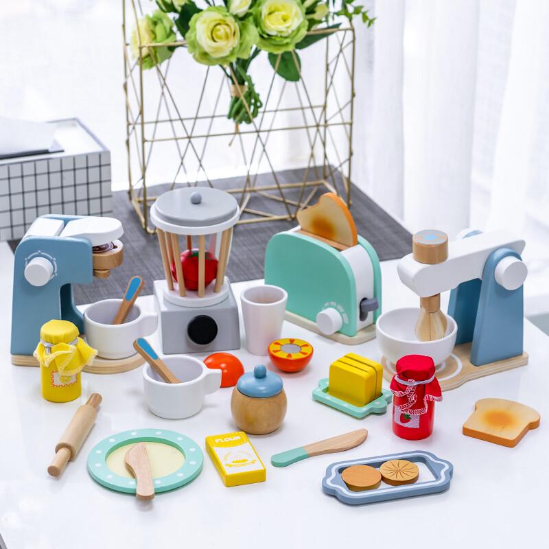 馬卡龍色系 仿真木製土司機 仿真攪拌機 木製咖啡機 木製烤麵包機 兒童扮家家玩具 仿真木製家電玩具