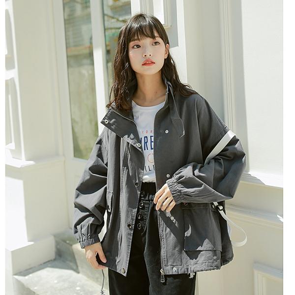 潮流港風複古外套 簡約女外套韓版外套 工裝秋季夾克外套 時尚百搭女生外套 洋氣寬鬆女士外套