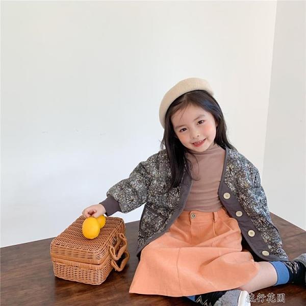 女童秋冬夾棉外套兒童裝洋氣男女寶寶復古森系碎花小棉服快速出貨快速出貨快速出貨