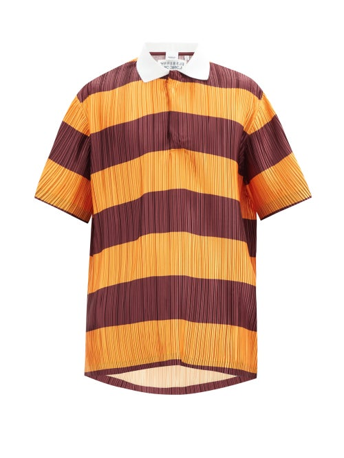 Burberry - Striped Plissé-pleated Polo Shirt - Mens - Red Multi