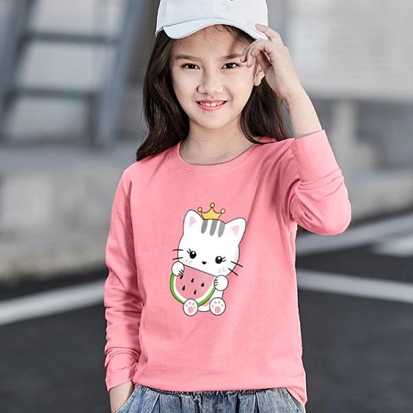女童童裝中大童t恤夏長袖女孩純棉洋氣時尚潮百搭打底衫洋氣秋裝
