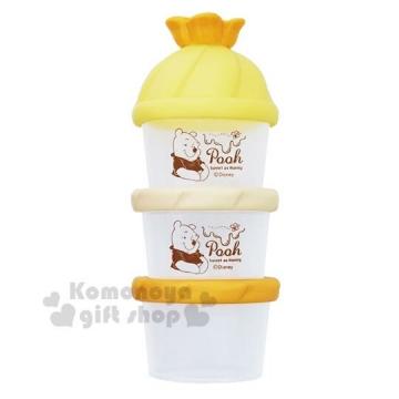〔小禮堂〕小熊維尼 日製造型蓋塑膠三層奶粉罐《橘黃》奶粉盒.食物盒