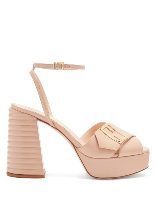 Fendi - Promenade Cross-strap Leather Platform Sandals - Womens - Nude