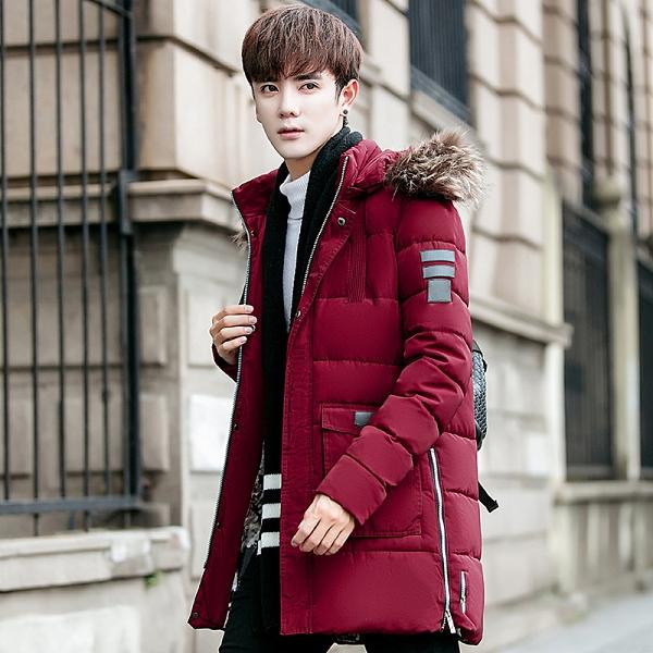 日系韓版外套羽絨外套 連帽純色冬季潮流棉服 時尚夾克外套加絨 百搭加厚男生外套 男士外套厚款
