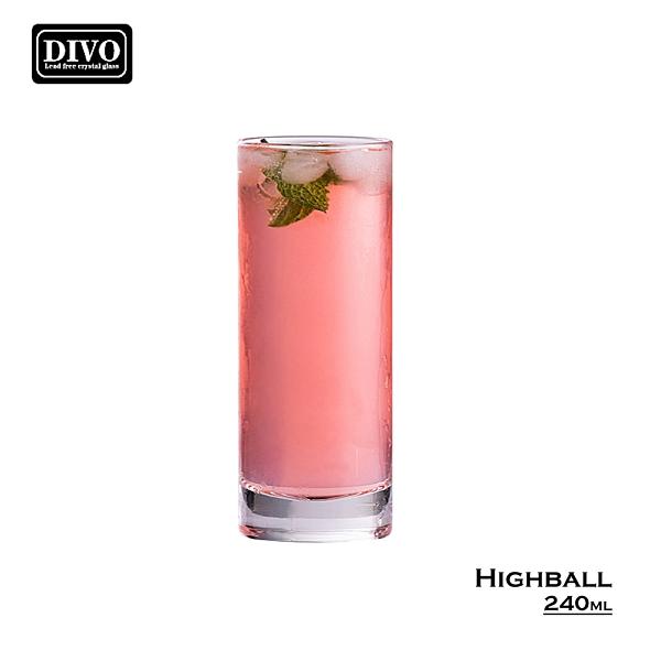 DIVO 水晶厚底直杯 240mL 水晶玻璃杯 海波杯 水杯 果汁杯 啤酒杯