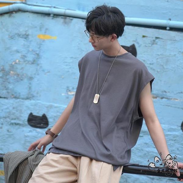 男士背心 2020夏裝韓版純色百搭寬鬆男士背心港風運動無袖上衣tee VK2607