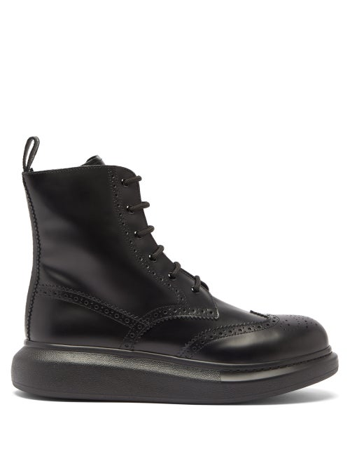 Alexander Mcqueen - Hybrid Chunky-sole Leather Brogue Boots - Mens - Black