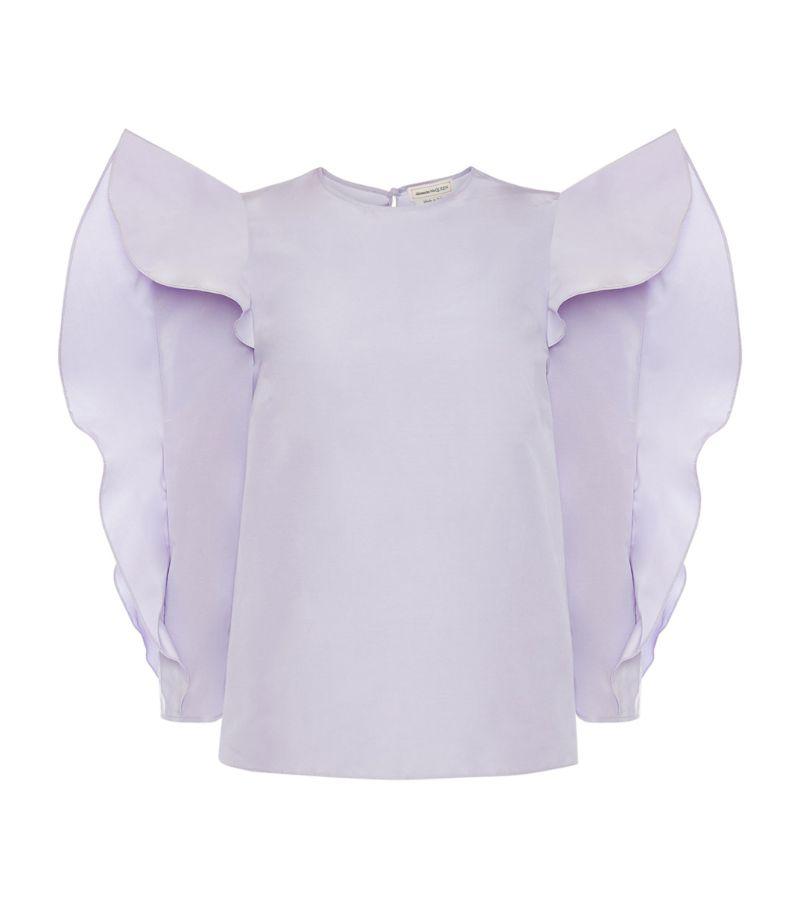 Alexander Mcqueen Cotton-Silk Ruffle-Sleeved Blouse