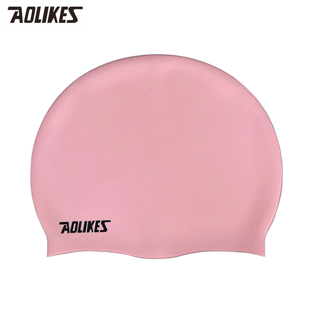 Aolikes 柔軟舒適護耳彈性矽膠成人泳帽 粉