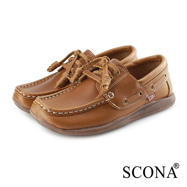 SCONA 蘇格南 全真皮 手工休閒帆船鞋 綠色 7335-3