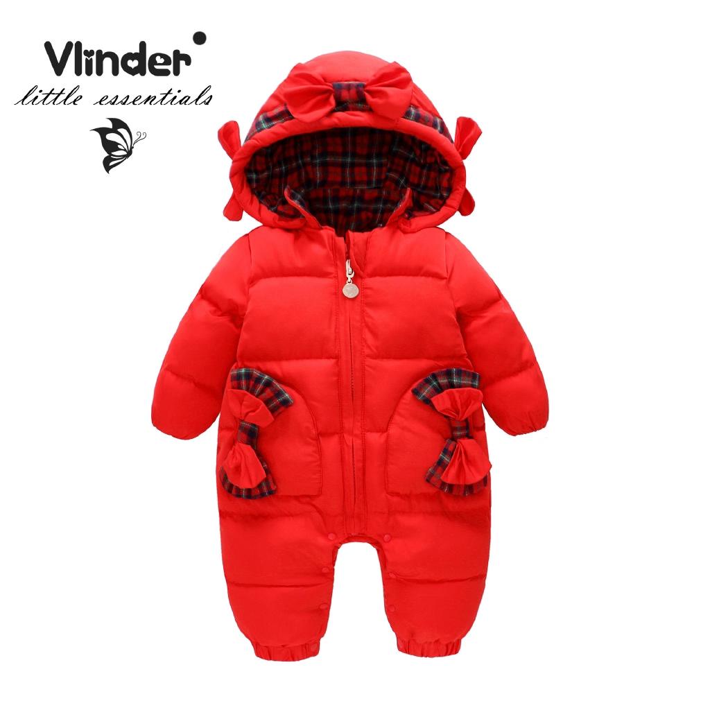 Vlinder童裝女寶寶純棉紅色格子冬季加厚保暖羽絨外套