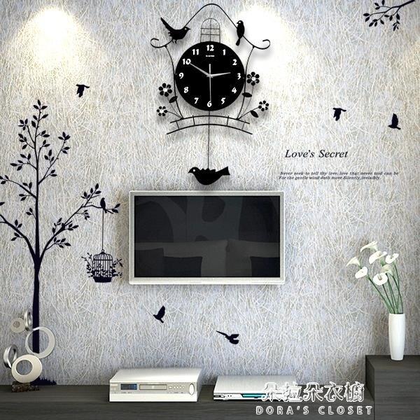掛鐘 夜光現代裝飾北歐式個性靜音搖擺掛鐘客廳時尚臥室創意家用鳥鐘表
