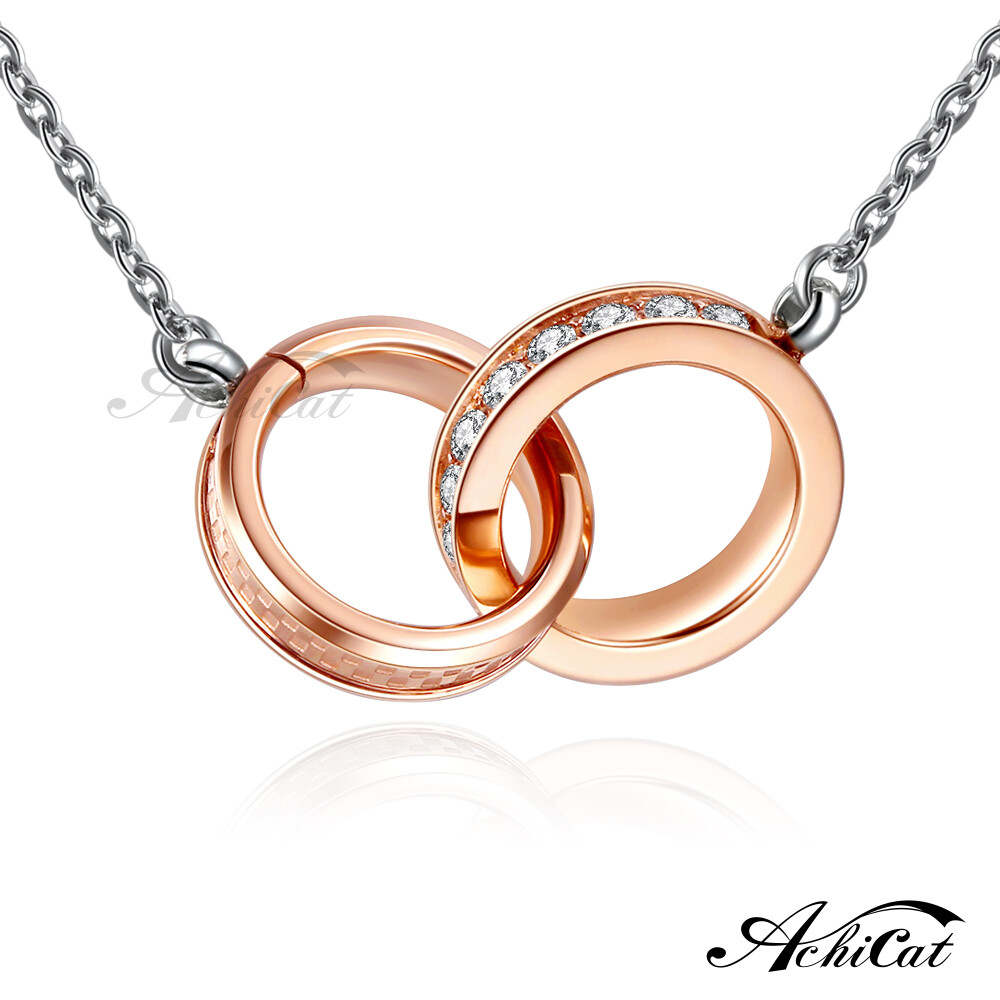 achicat 項鍊 白鋼項鍊 氣質系列 滿鑽格紋 雙圈項鍊 鎖骨鍊 頸鍊 生日禮物 c6029