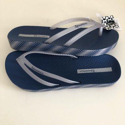 《現貨》Ipanema 女生巴西尺寸33/34,35,36,37/38,39/40(BOSSA印花 森巴舞曲 厚底夾腳拖鞋-深藍色)