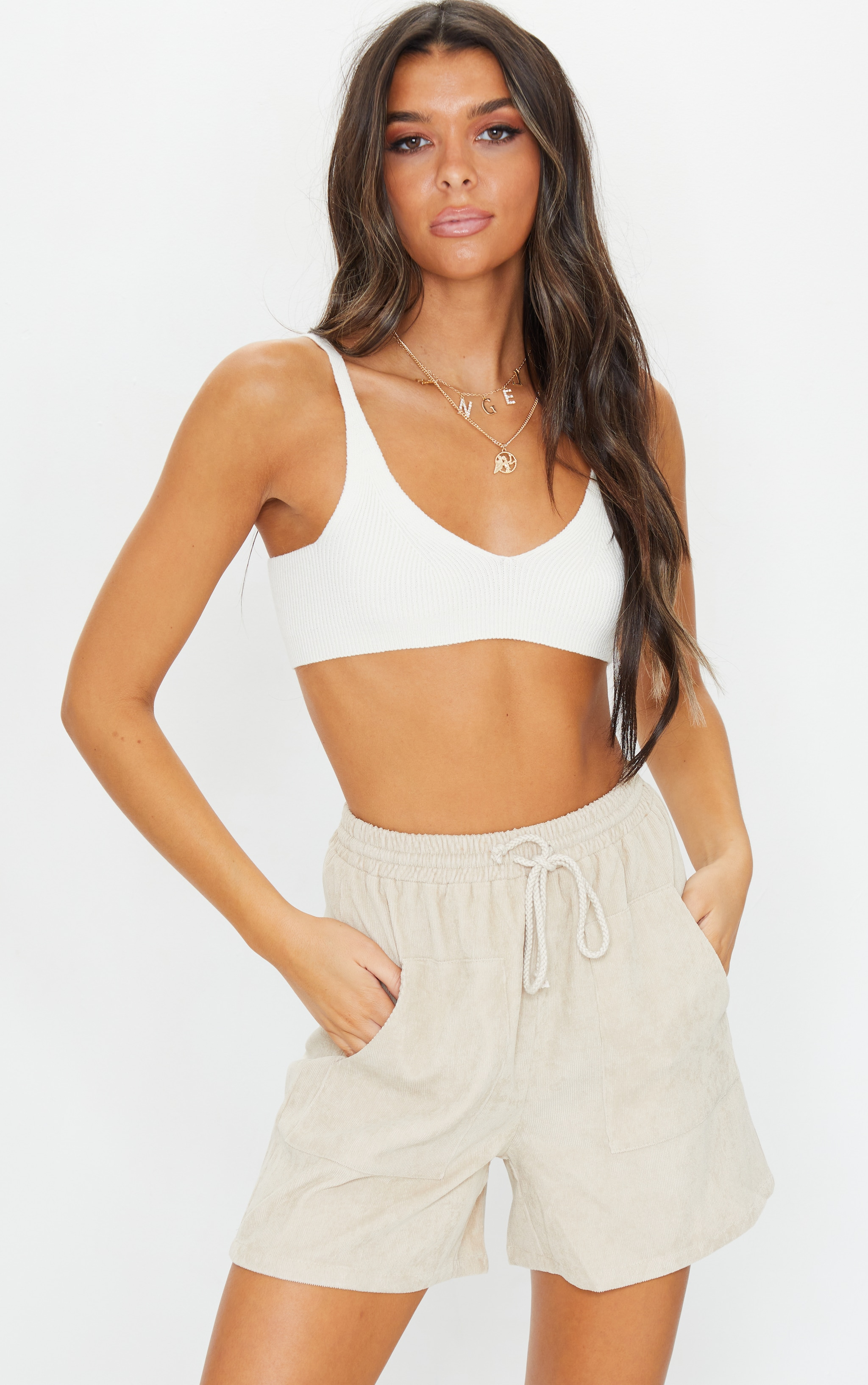 Cream Cord Pocket Detail Longline Shorts