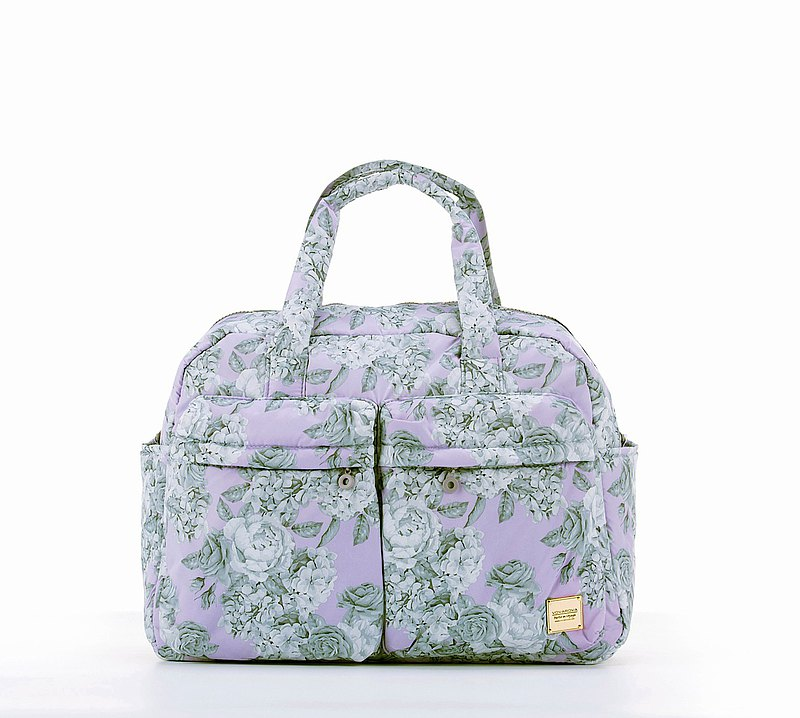 VOVAROVA 防潑水週末旅行袋  - 玫瑰花園 - 粉紫