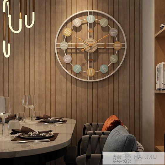 美式創意掛鐘北歐現代家用靜音大氣時鐘客廳簡約個性潮流藝術鐘錶
