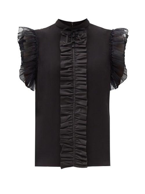 Gucci - Ruffled Silk Blouse - Womens - Black