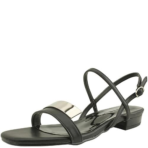 韓國空運 - Metal Strap Square Toe Flat Sandals Black 涼鞋