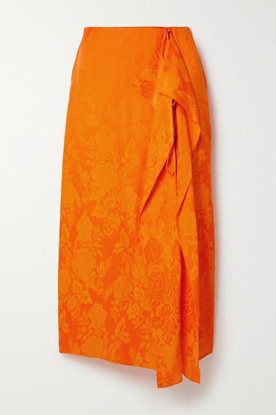 The Attico - 垂褶提花缎布中长半身裙 - 橙色 - IT36