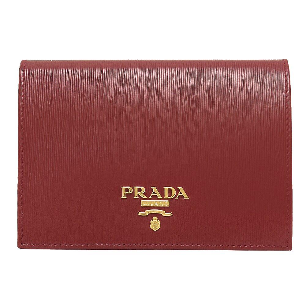 PRADA 專櫃商品 1MV412 浮雕LOGO水波紋護照中夾.深紅