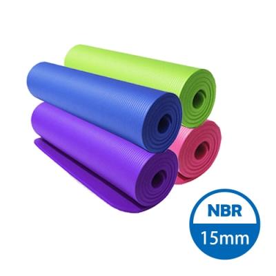 【SUKEII】NBR高密度15mm瑜珈墊(附綁帶+揹袋)