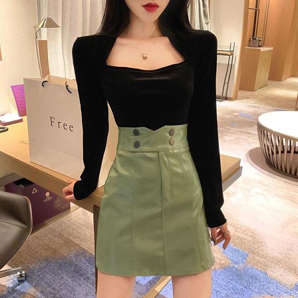 皮裙港味復古顯瘦氣質A字短裙包臀高腰半身裙女秋冬新款黑色皮裙 JUST M
