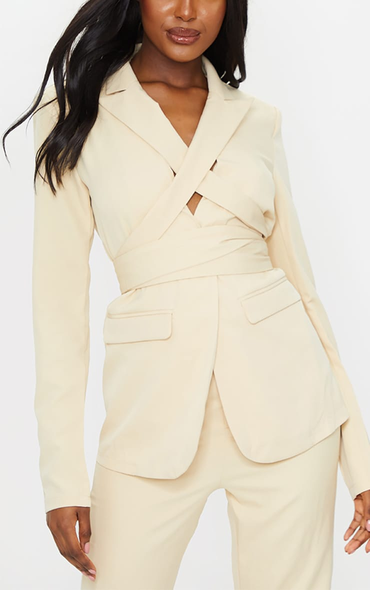 Tall Stone Fitted Tie Detail Blazer