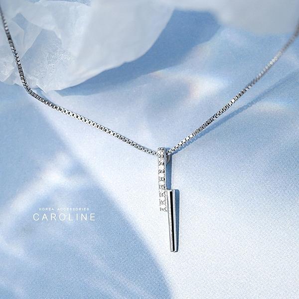 《Caroline》幾何小閃電簡約微鑲鋯鑽百搭大方設計配飾流行時尚項鍊72443