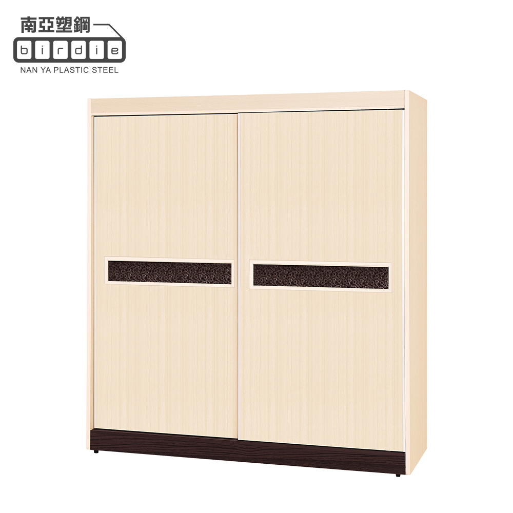 Birdie南亞塑鋼-洛娜6尺二推/拉門塑鋼衣櫃(白橡色+胡桃色)